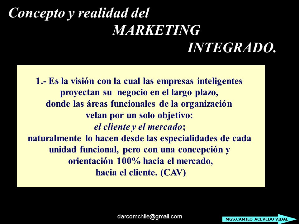 Concepto y realidad del MARKETING INTEGRADO.