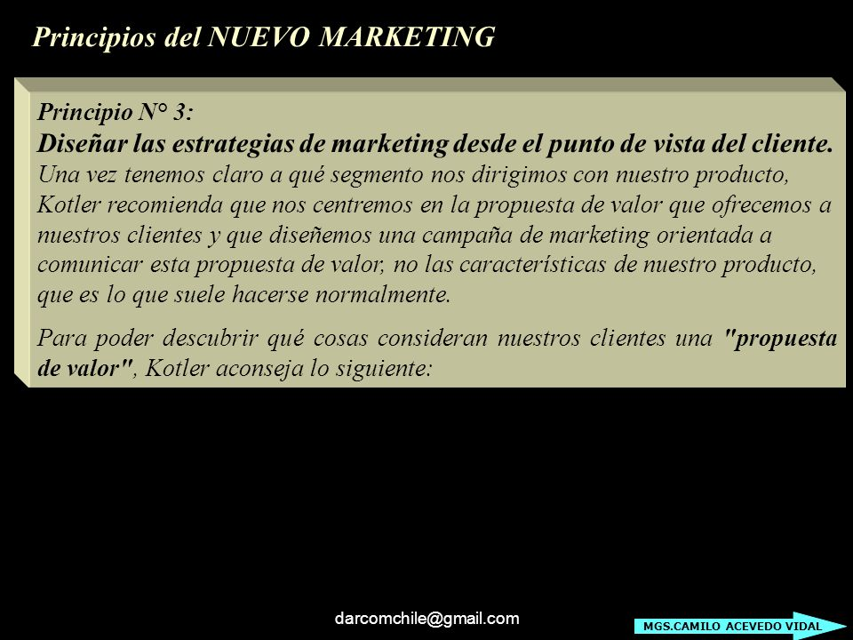 Principios del NUEVO MARKETING