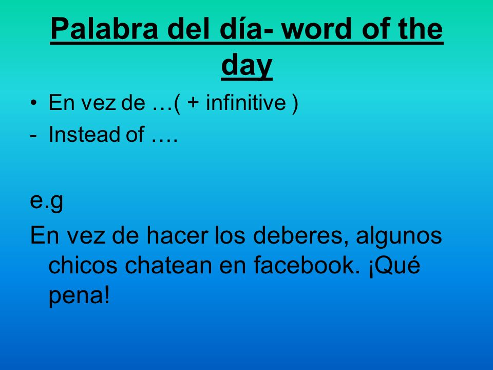 Palabra del día- word of the day