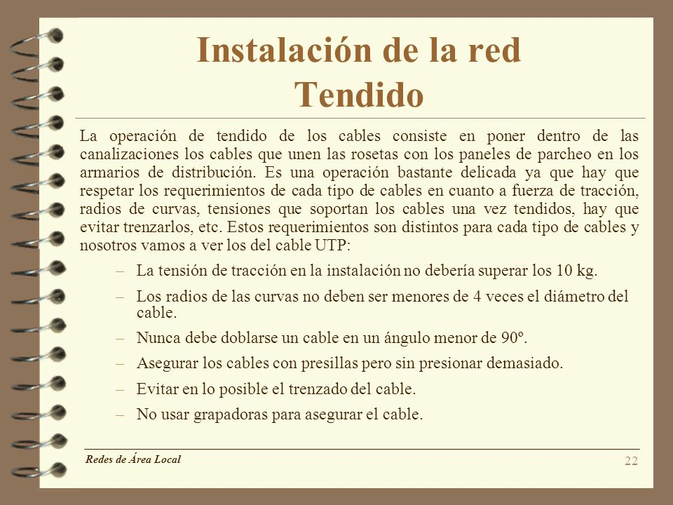Instalación de la red Tendido