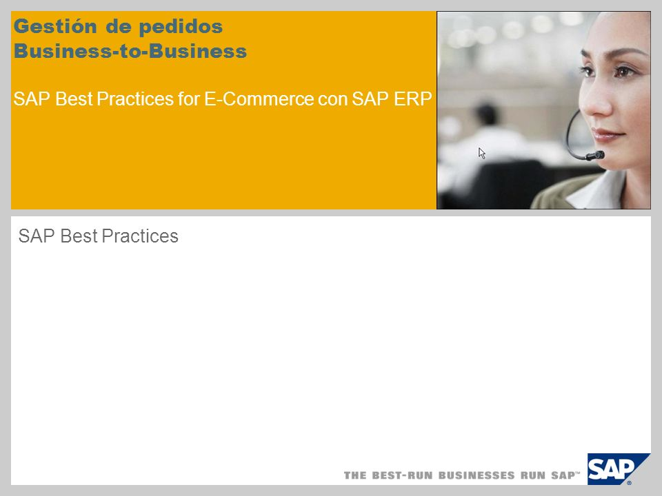 Gestión de pedidos Business-to-Business SAP Best Practices for E-Commerce con SAP ERP
