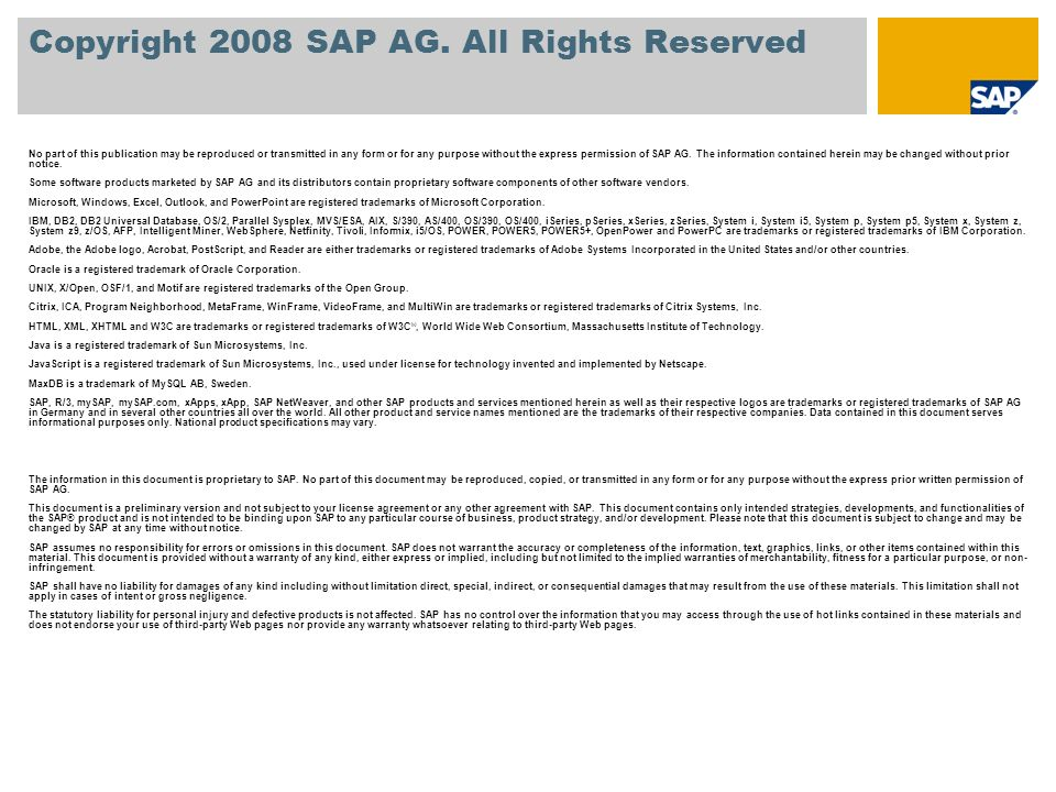 Copyright 2008 SAP AG. All Rights Reserved