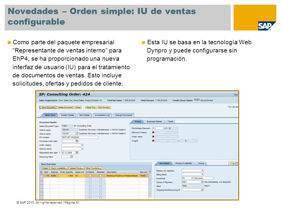 Novedades – Orden simple: IU de ventas configurable