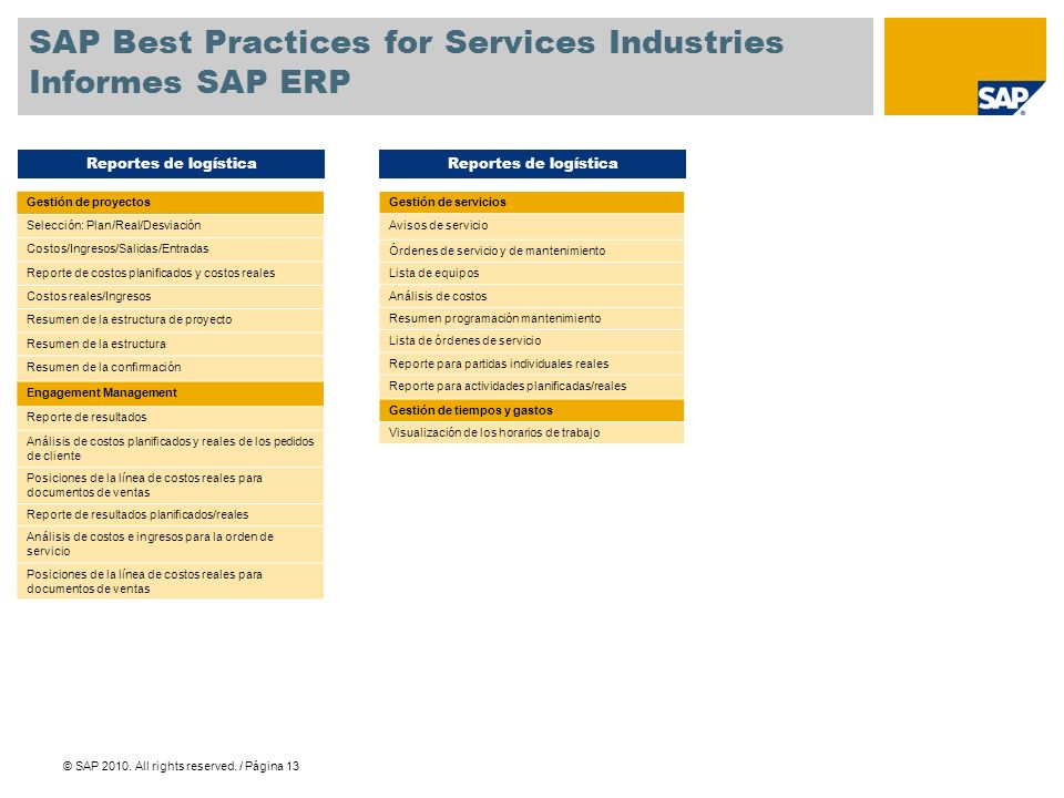SAP Best Practices for Services Industries Informes SAP ERP