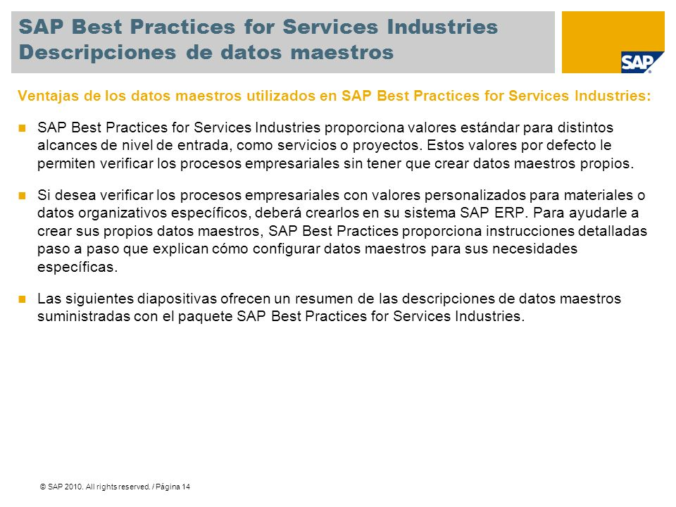 SAP Best Practices for Services Industries Descripciones de datos maestros