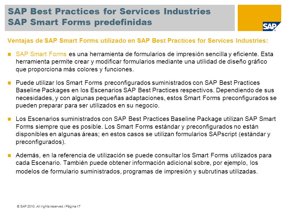 SAP Best Practices for Services Industries SAP Smart Forms predefinidas