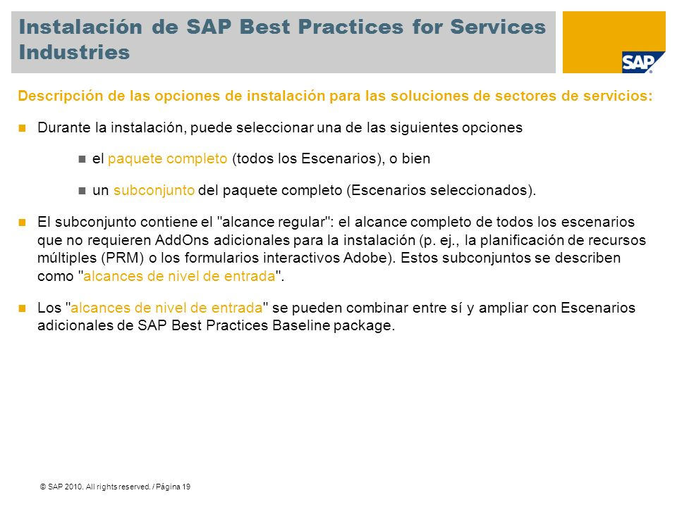 Instalación de SAP Best Practices for Services Industries