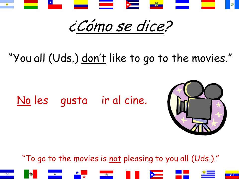 ¿Cómo se dice You all (Uds.) don't like to go to the movies. No les