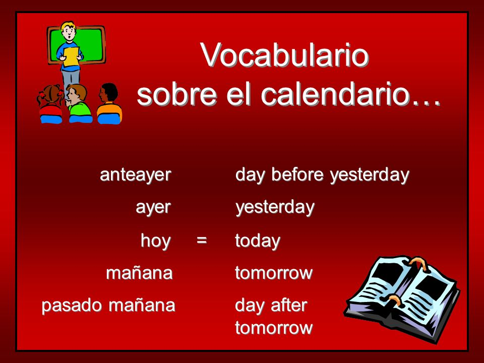 Vocabulario sobre el calendario… anteayer day before yesterday ayer