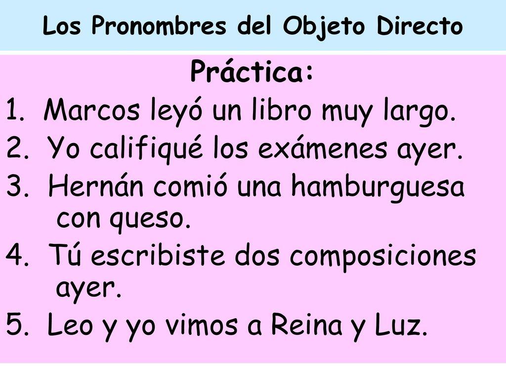 Los Pronombres del Objeto Directo - ppt descargar
