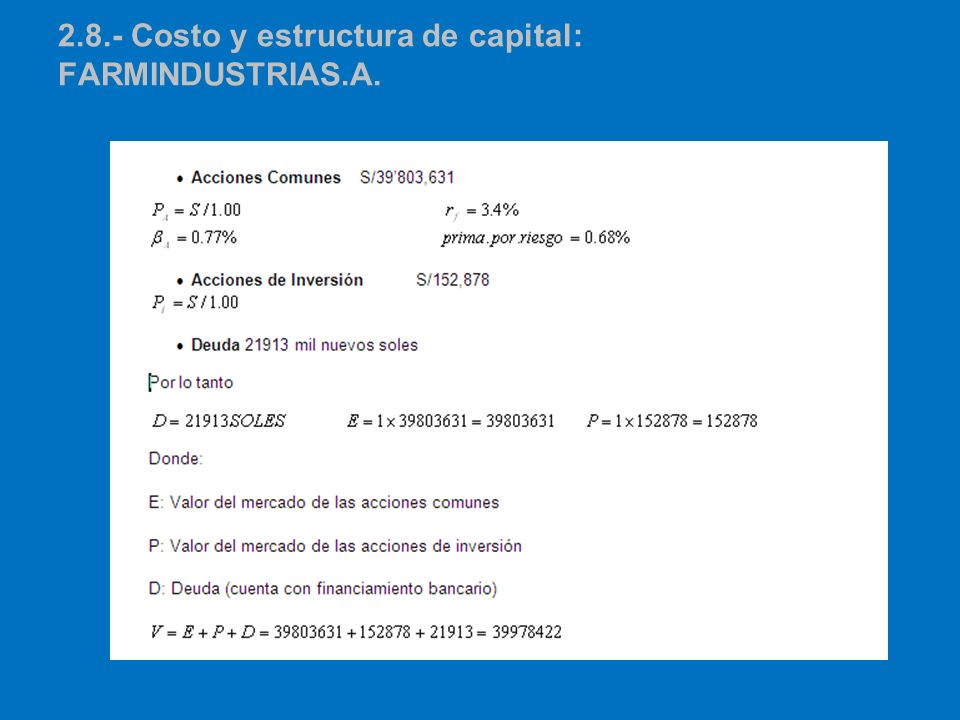 2.8.- Costo y estructura de capital: Farmindustrias.a.