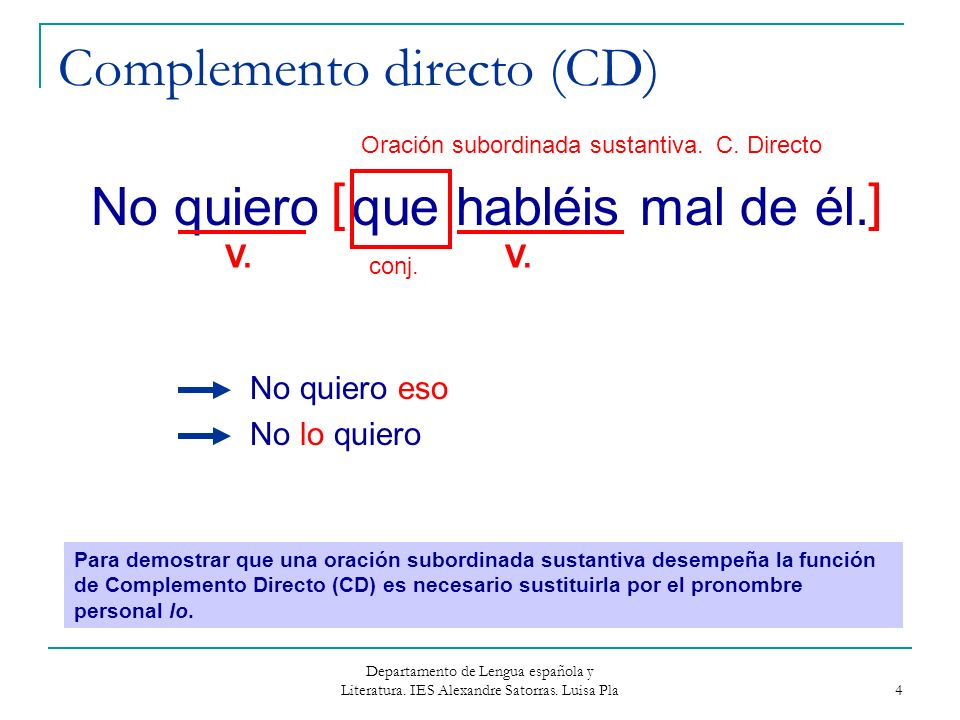 Complemento directo (CD)