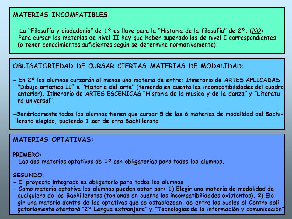 MATERIAS INCOMPATIBLES: