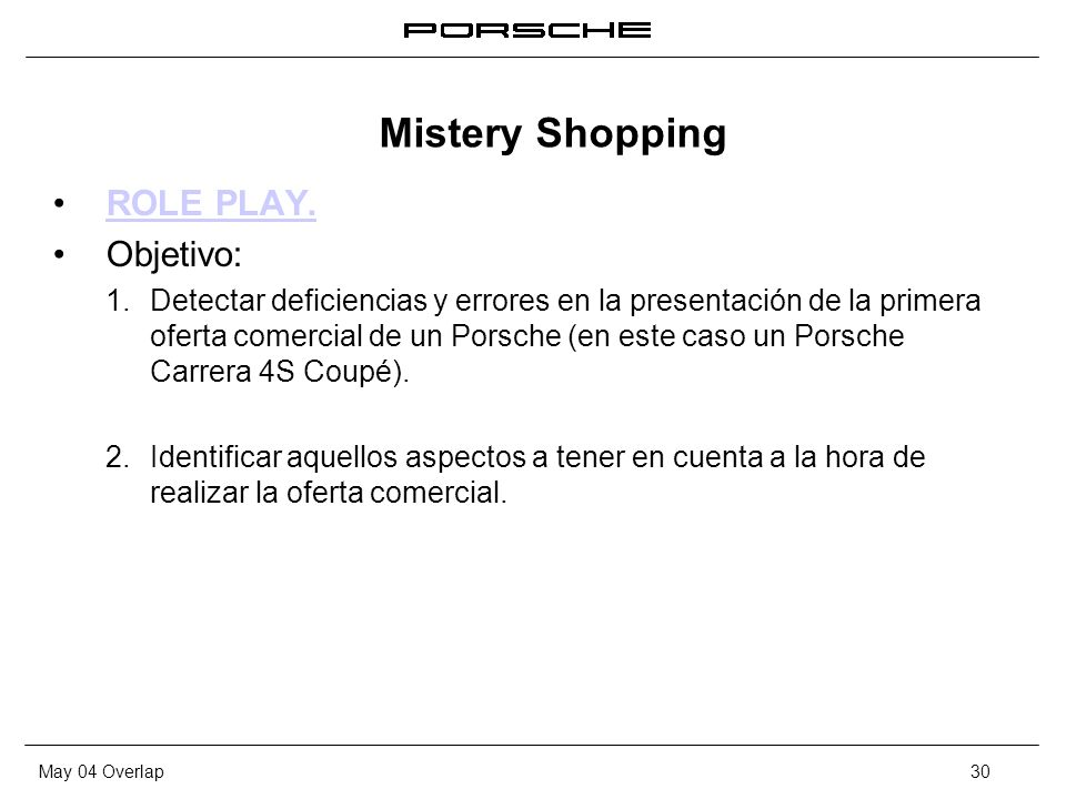 Mistery Shopping ROLE PLAY. Objetivo:
