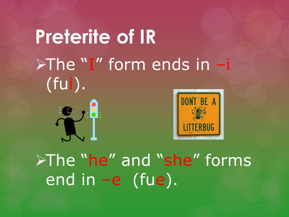 Preterite of IR The I form ends in –i (fui).