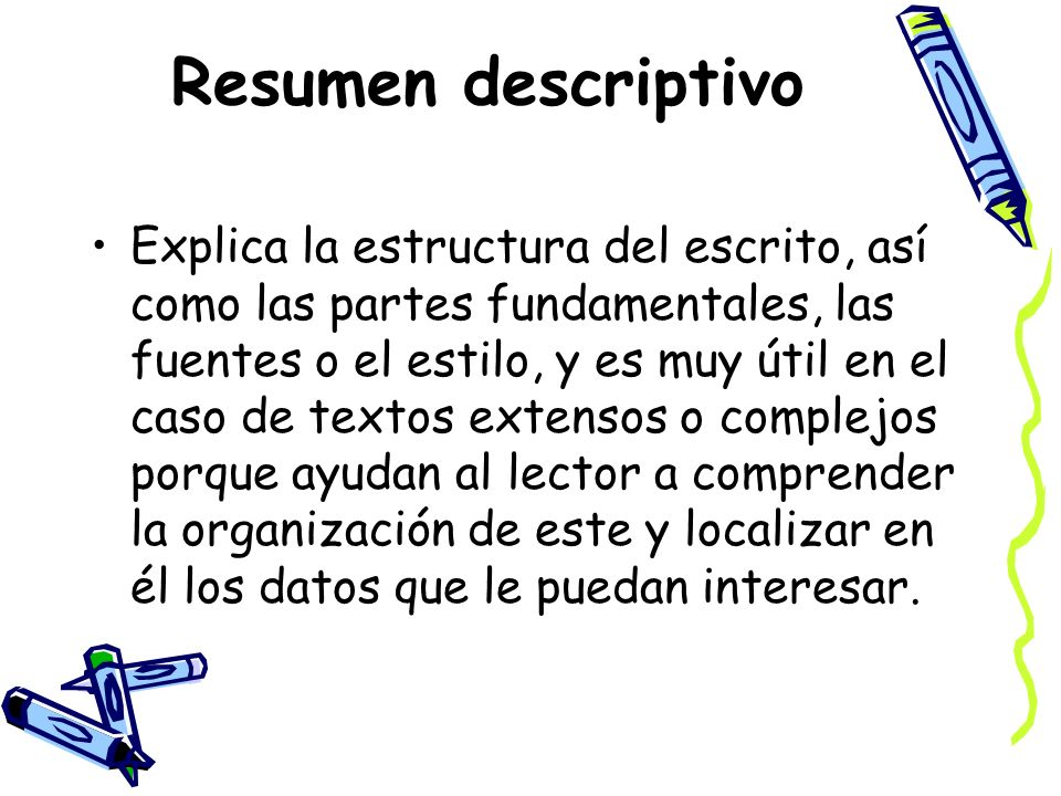 Resumen descriptivo