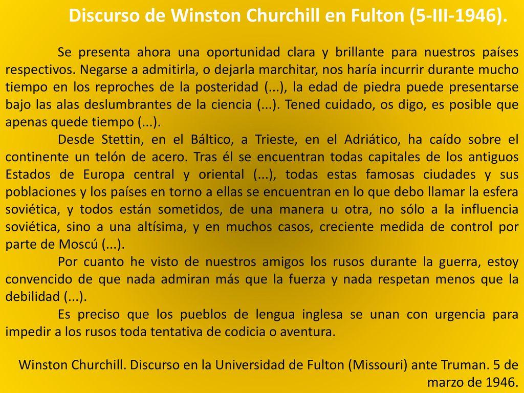 Resultado de imagen de DISCURSO CHURCHILL FULTON