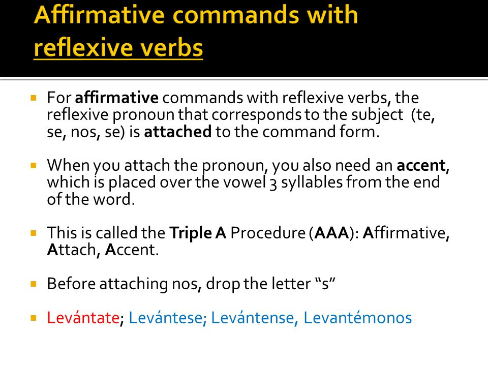 Affirmative commands with reflexive verbs