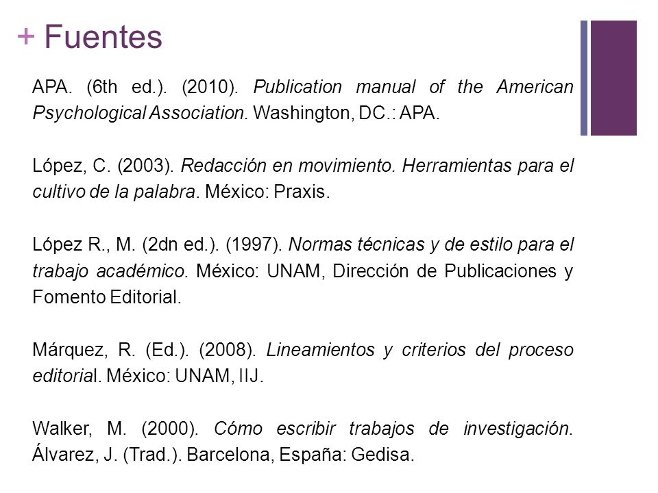 Fuentes APA. (6th ed.). (2010). Publication manual of the American Psychological Association. Washington, DC.: APA.