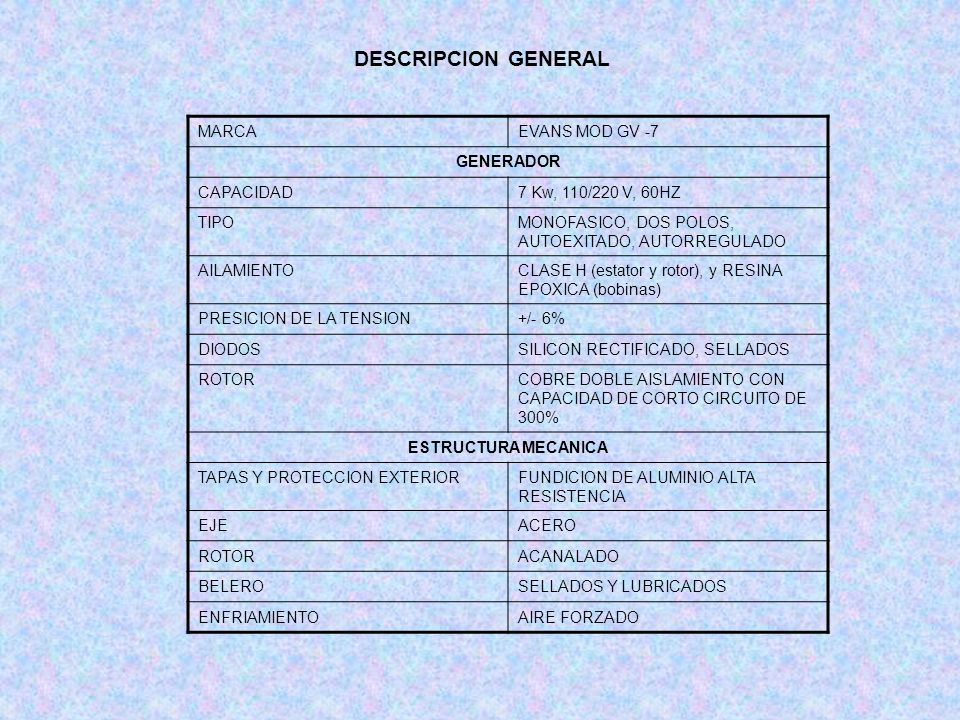 DESCRIPCION GENERAL MARCA EVANS MOD GV -7 GENERADOR CAPACIDAD
