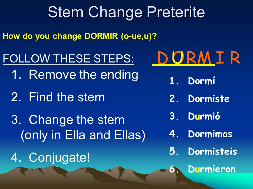 D U O RM I R Stem Change Preterite Remove the ending Find the stem