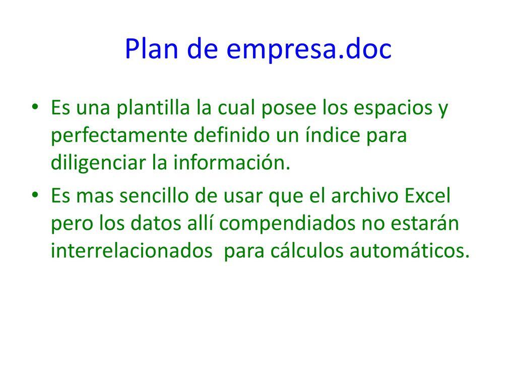 Uso de los formato plan de empresa. - ppt descargar