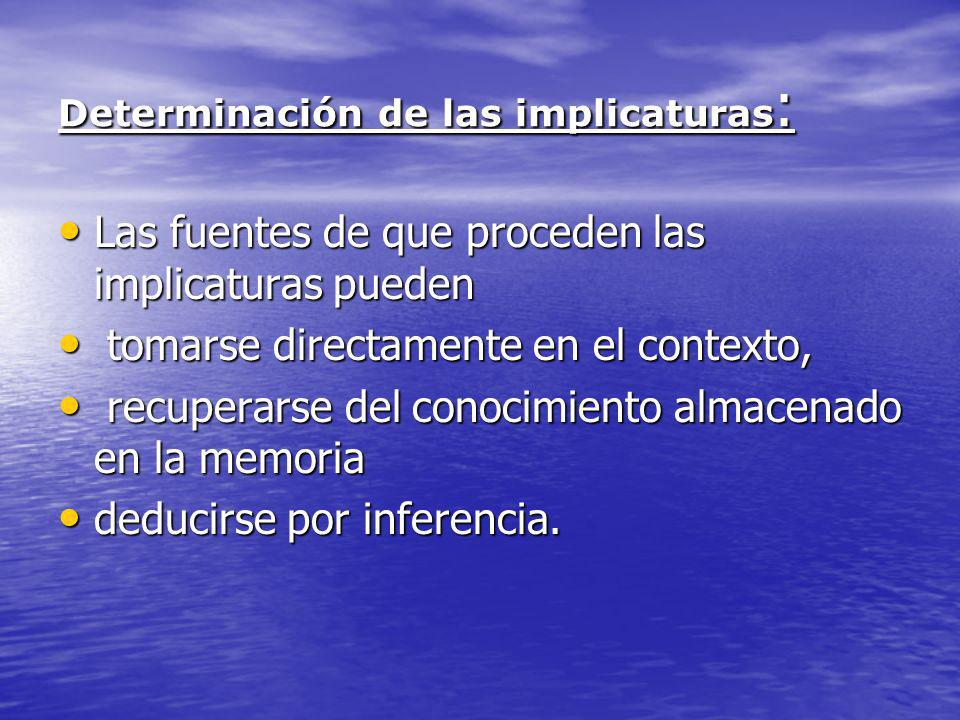 Determinación de las implicaturas: