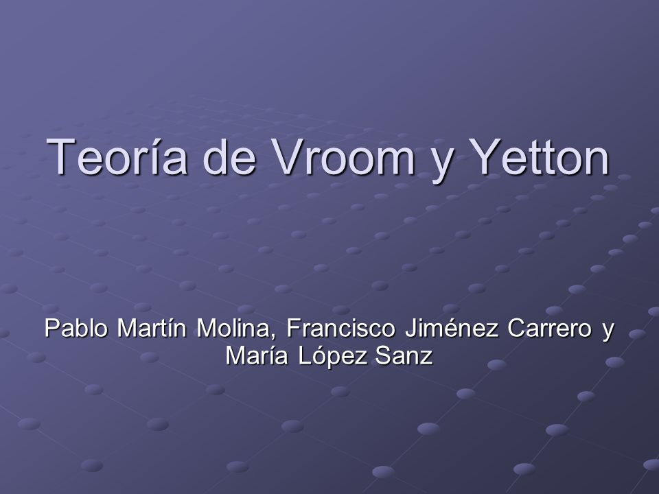 Teoría de Vroom y Yetton