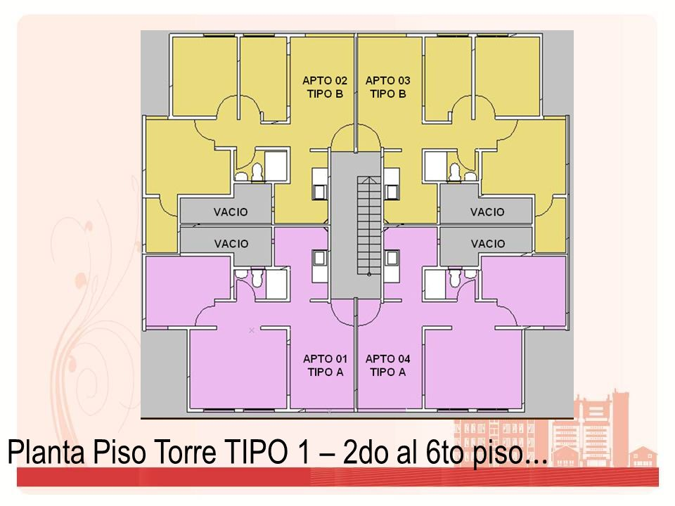 Planta Piso Torre TIPO 1 – 2do al 6to piso...
