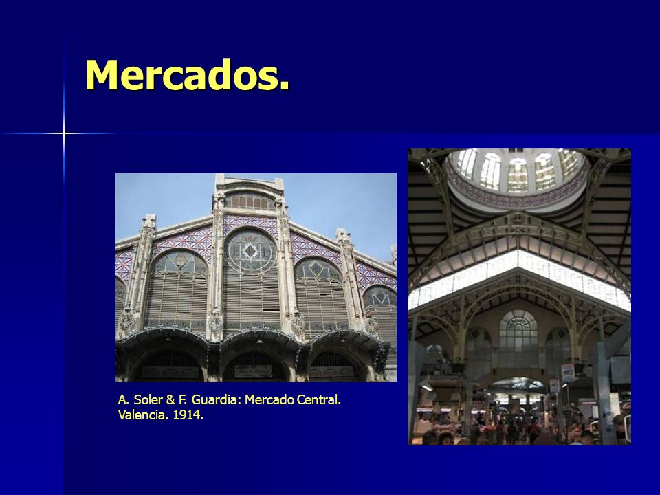 Mercados. A. Soler & F. Guardia: Mercado Central. Valencia