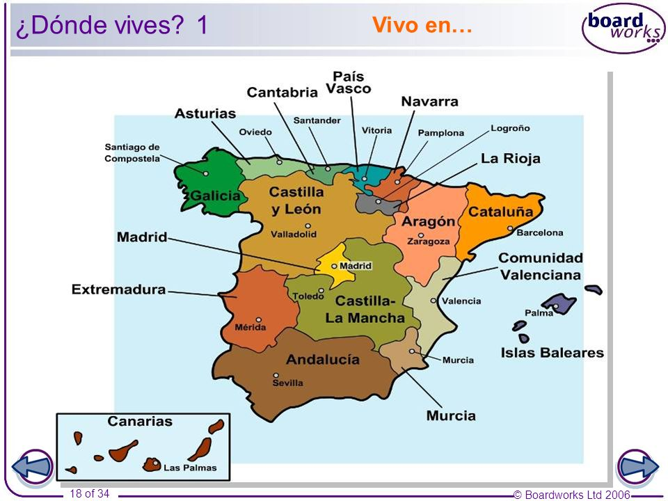 ¿Dónde vives 1 Vivo en… Using this map as a stimulus, ask pupils to ask and answer questions about where they live.
