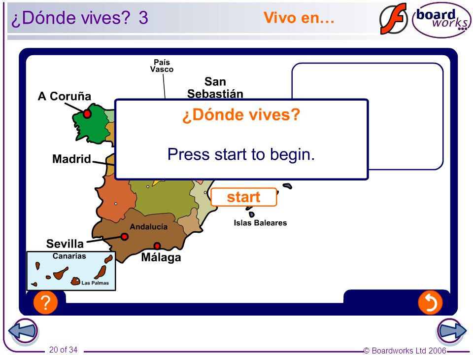¿Dónde vives 3 Vivo en… Using this activity as an example, ask the pupils to ask each other about where they live.