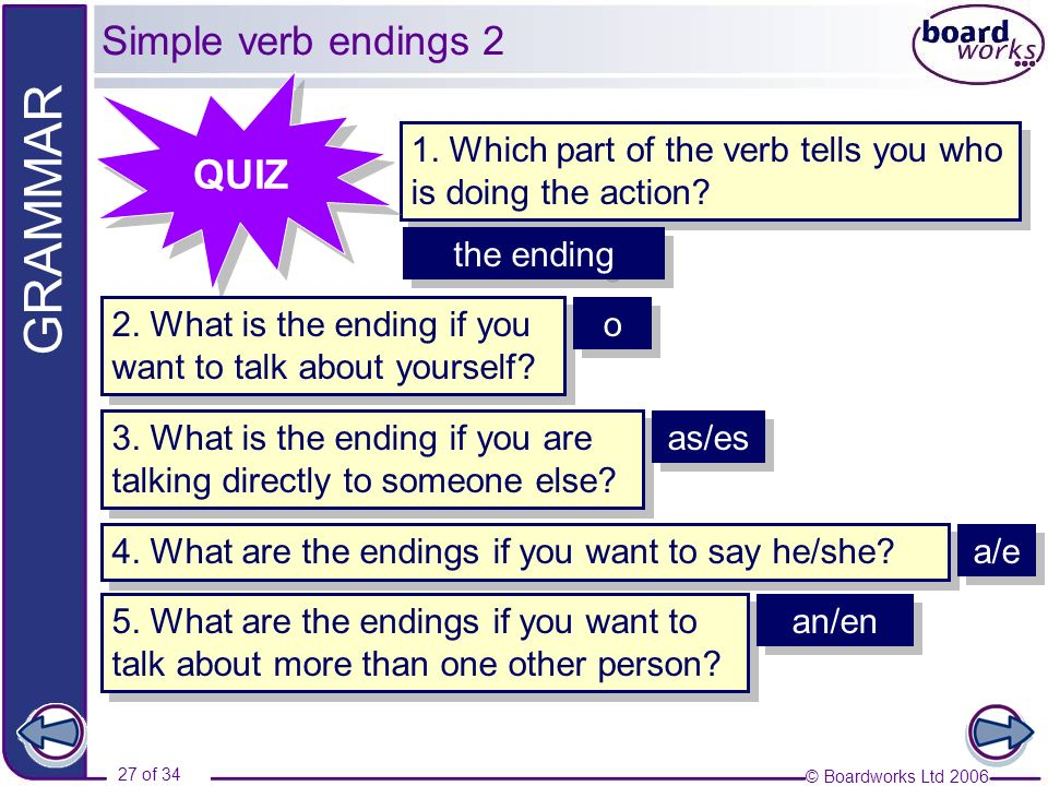 Simple verb endings 2 QUIZ