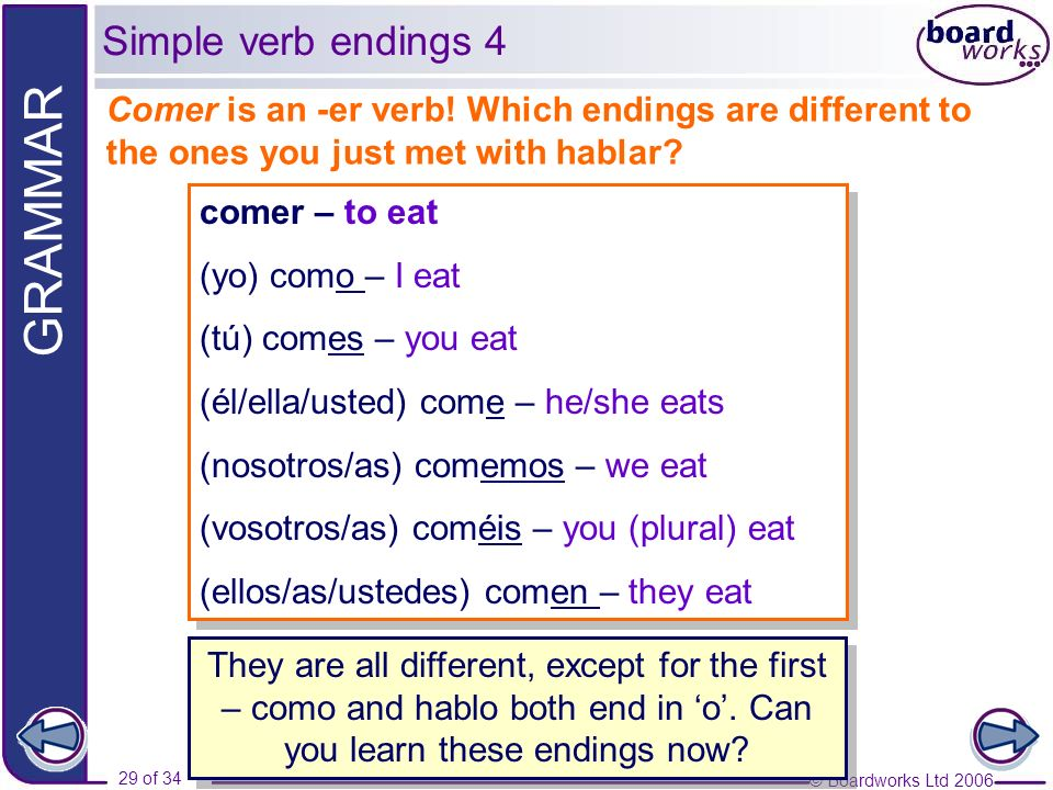 Simple verb endings 4 Comer is an -er verb! Which endings are different to the ones you just met with hablar