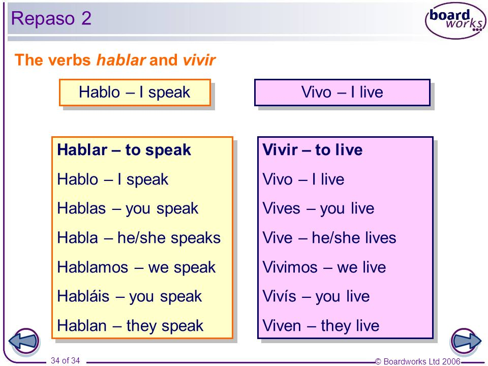Repaso 2 The verbs hablar and vivir Hablo – I speak Vivo – I live