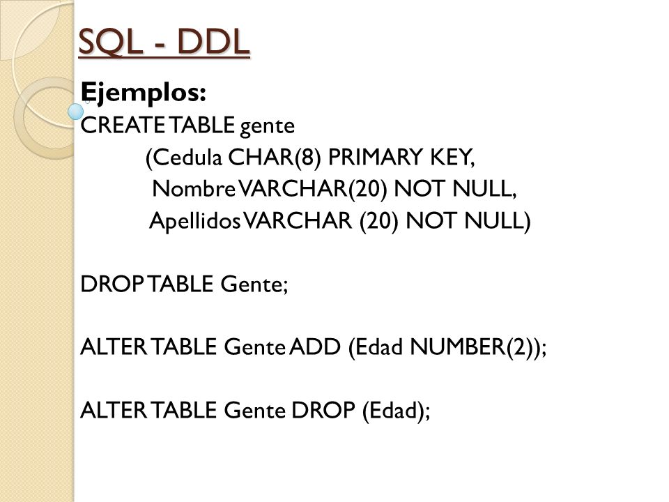 SQL - DDL Ejemplos: CREATE TABLE gente (Cedula CHAR(8) PRIMARY KEY,
