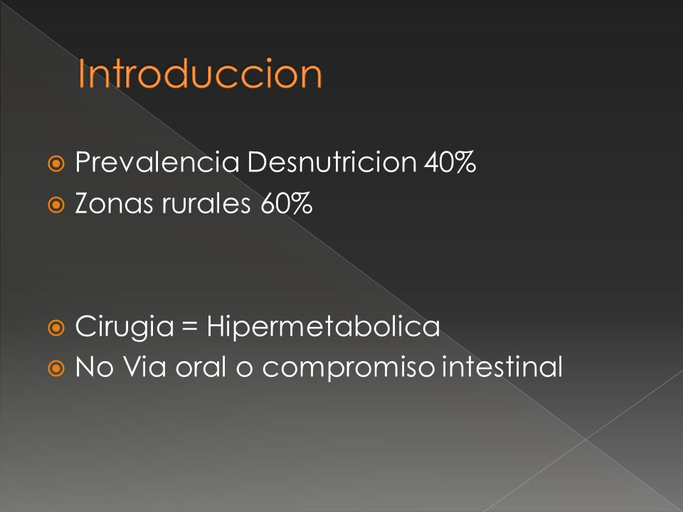 Introduccion Prevalencia Desnutricion 40% Zonas rurales 60%
