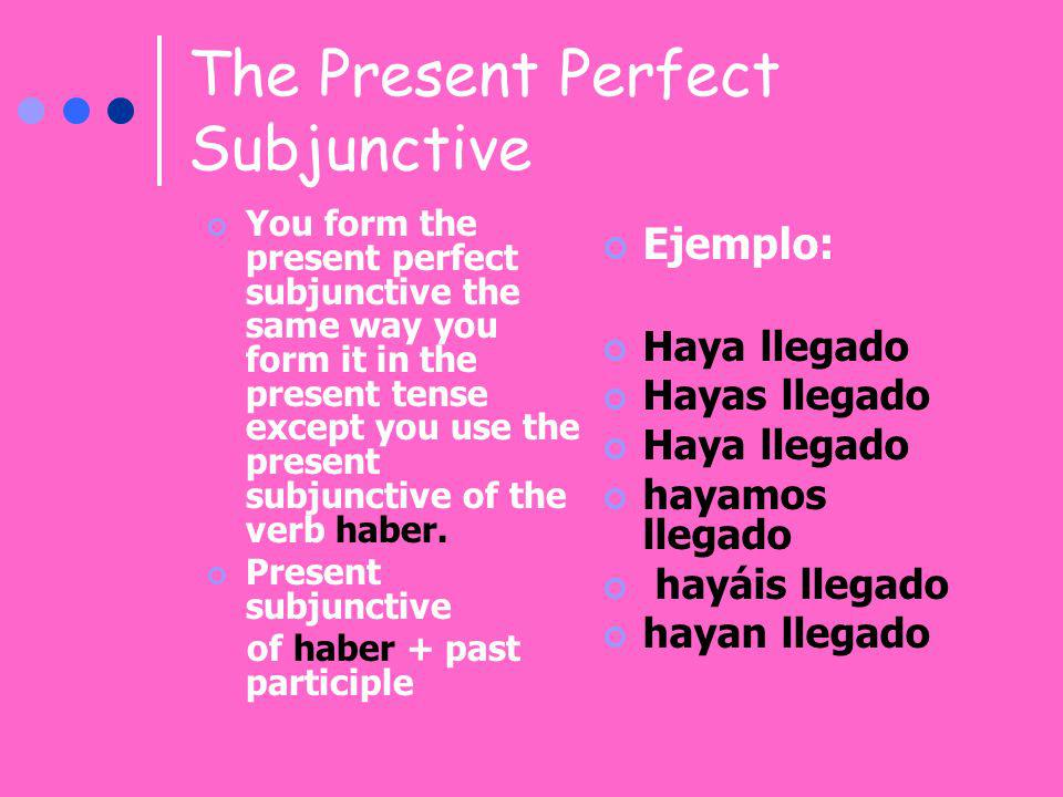 The Present Perfect Subjunctive