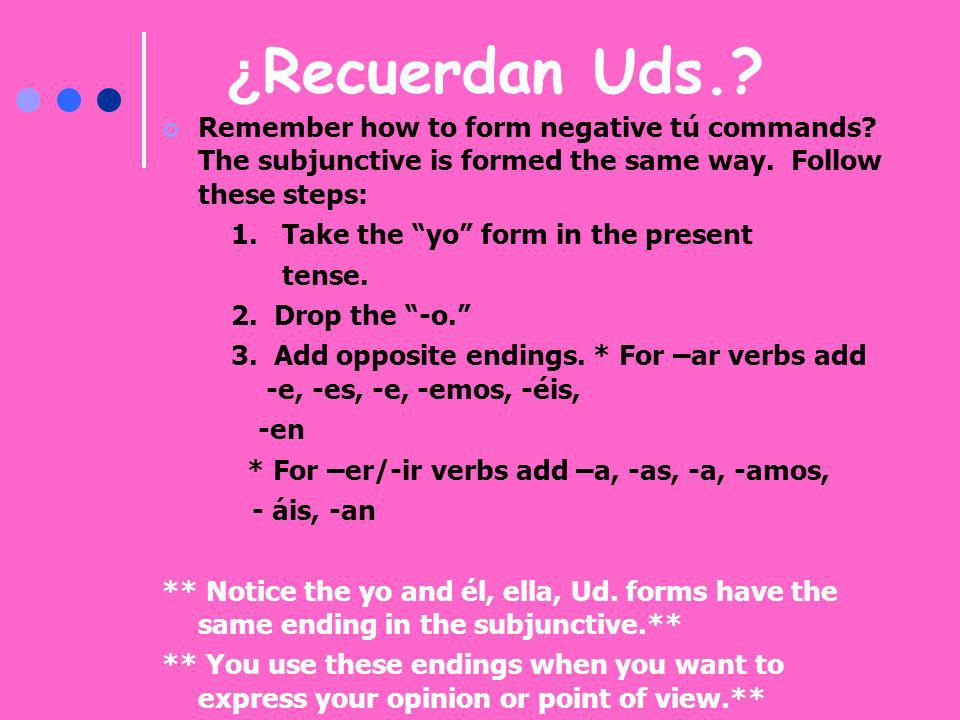 ¿Recuerdan Uds. Remember how to form negative tú commands The subjunctive is formed the same way. Follow these steps: