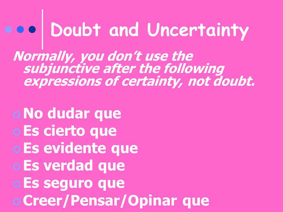 Doubt and Uncertainty No dudar que Es cierto que Es evidente que