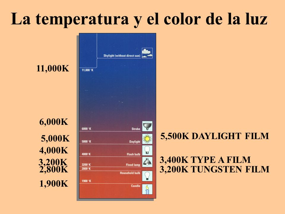 La temperatura y el color de la luz