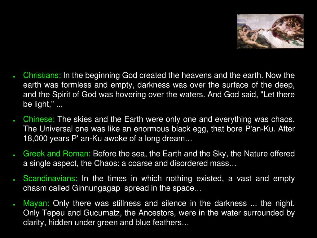 A Myths Story Each Civilization Created Its Own About The Origin Of Universe