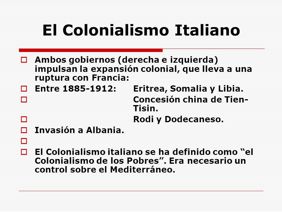 El Colonialismo Italiano