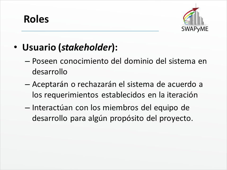 Roles Usuario (stakeholder):