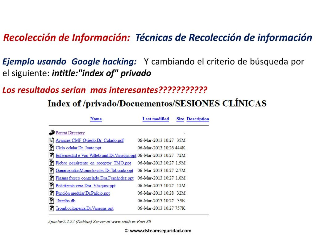 RECOLECCIÓN DE INFORMACIÓN (Information Gathering) - ppt