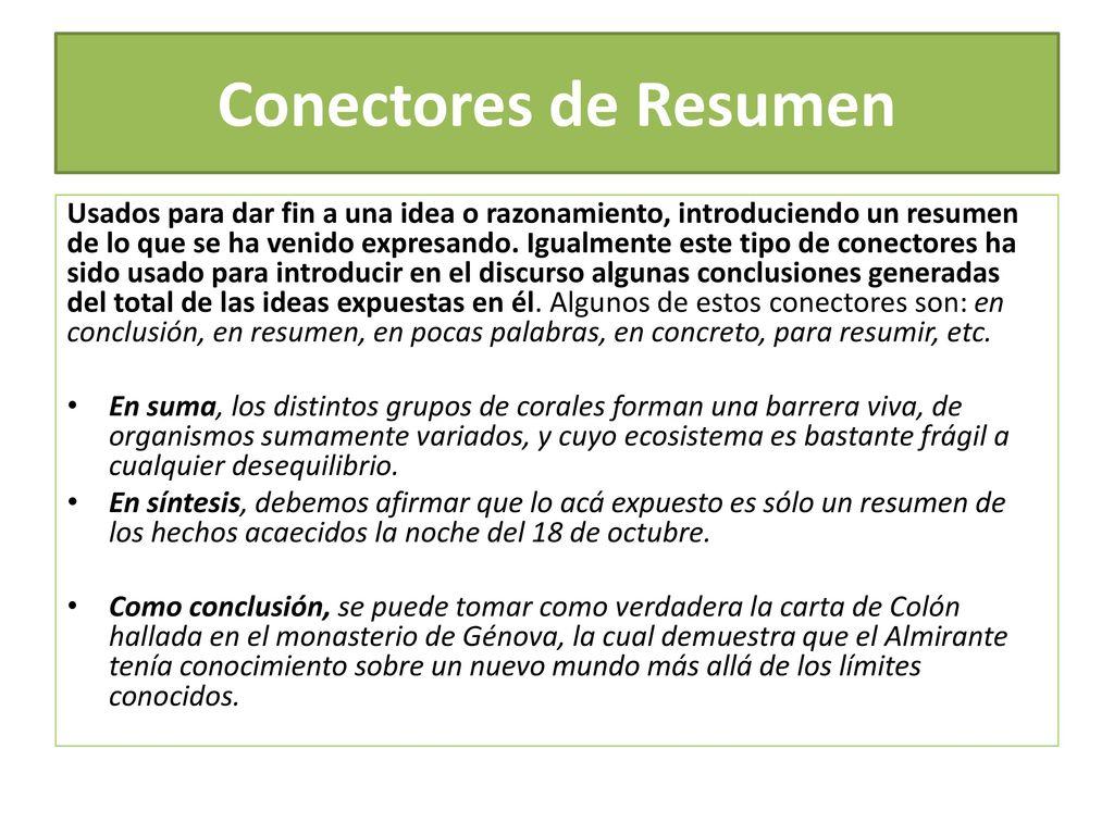 LOS CONECTORES EJEMPLOS DE USO. - ppt descargar