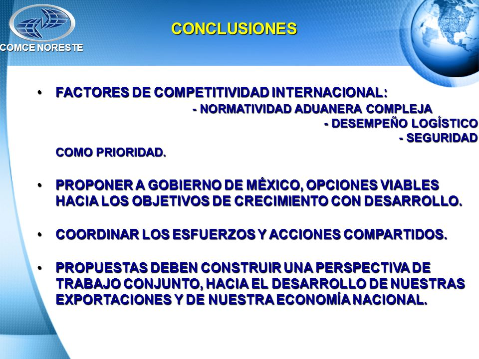 COMCE NORESTE CONCLUSIONES.
