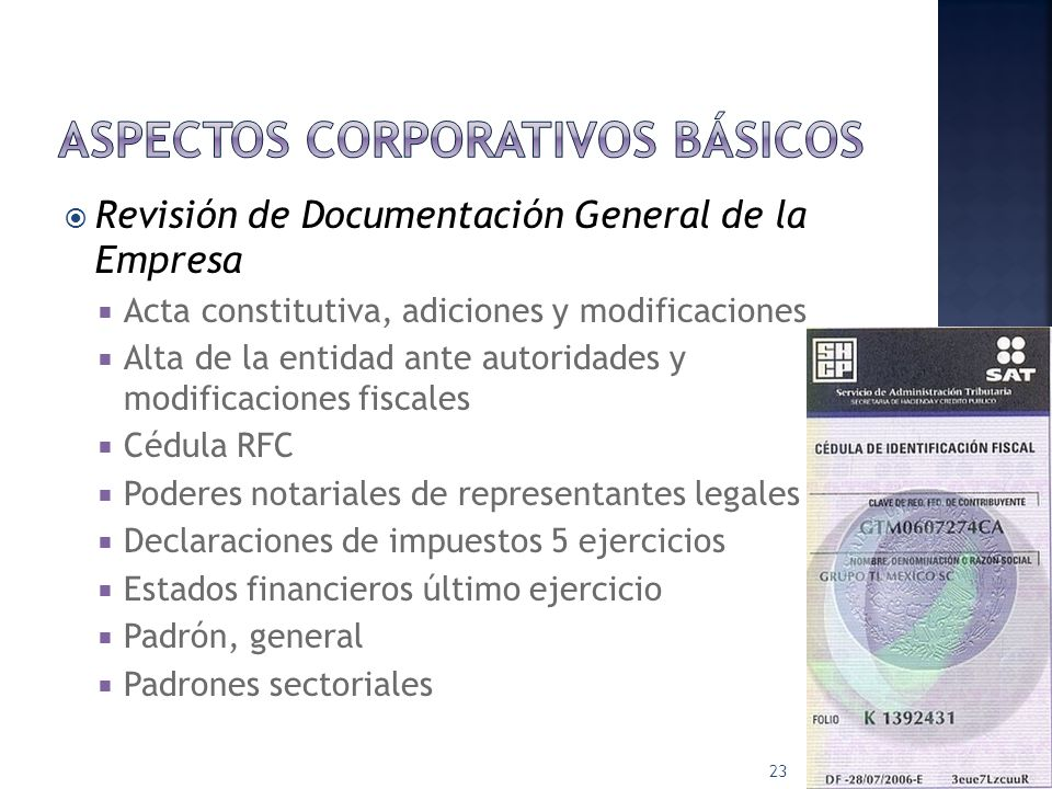 Aspectos corporativos básicos