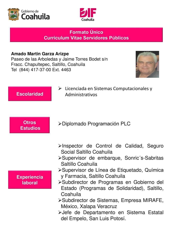 Curriculum Vitae De Servidores Publicos Adscritos Al Sistema Para El