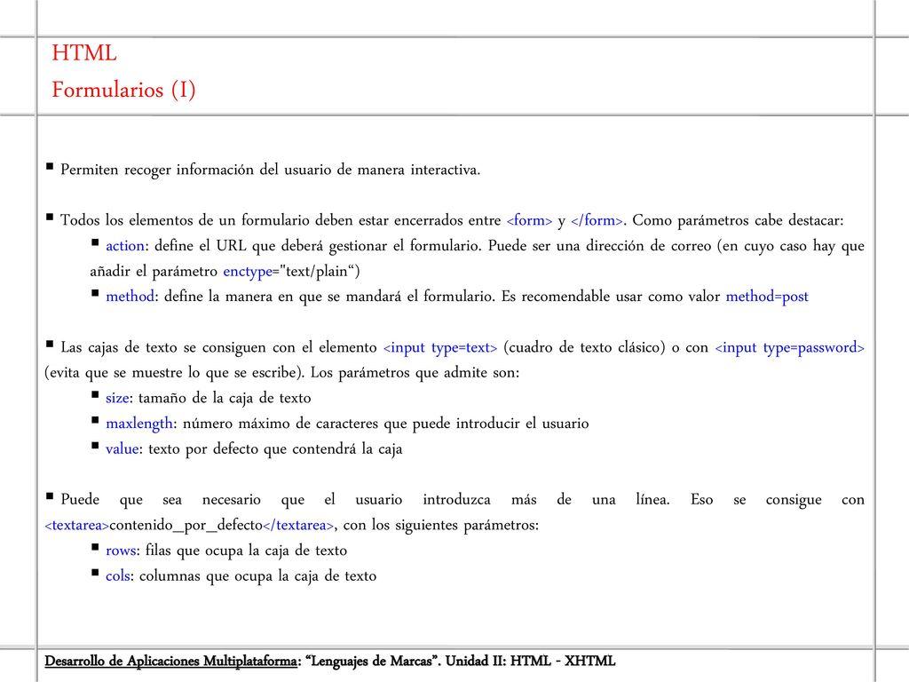 Unidad II: HTML - XHTML Desarrollo de Aplicaciones Multiplataforma ...